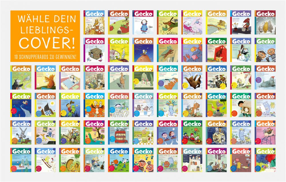 Alle 60 Titelbilder der Kinderzeitschrift Gecko