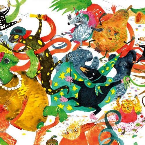 Illustration von Nele Brönner – Der kleine Frosch will auch zum Kostümball – Gecko 69